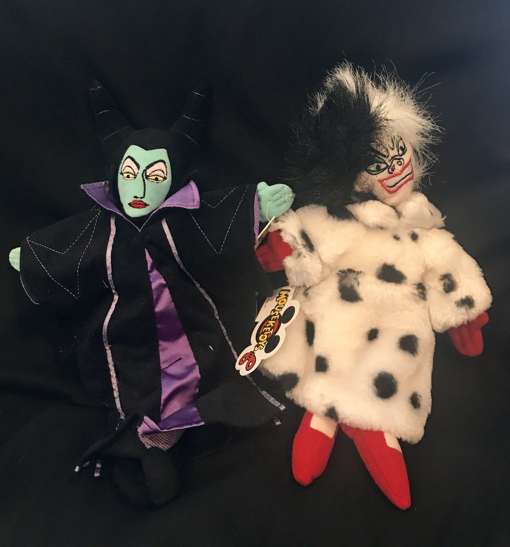 Maleficent (Sleeping Beauty) and Cruella Di Vil (101 Dalmations)