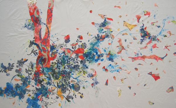 Sharkey Gray, 2011 Acrylic and mixed media on cotton tablecloth 60 x 92 inches