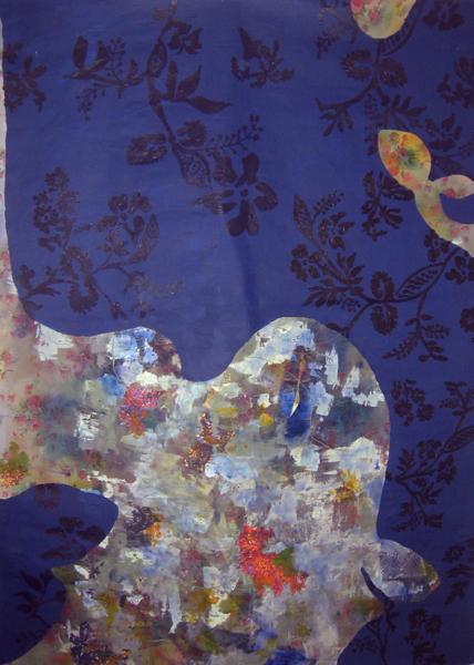 Deep Indigo, 2011 Acrylic and mixed media on cotton tablecloth 82 x 60 inches