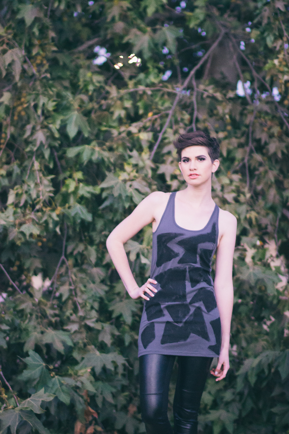 Hand Painted Black Shapes Tee Dress MUA/Hair: Ana Cheadle; Model: Caitlin Horn; Photography: Alexandra Wallace
