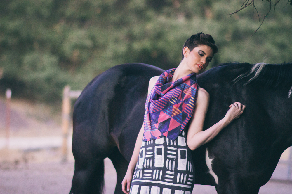 Egyptian Quilt Silk Scarf with the Hand Painted Basketweave Tank Dress  MUA/Hair: Ana Cheadle; Model: Caitlin Horn; Photography: Alexandra Wallace