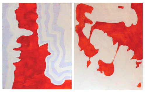 Two of the five paintings I overpainted. I did these in 2006 and were my favorite from the bunch. The paint is pretty thin and although I liked the shapes and the cleanliness of the line seemed premature at another look.