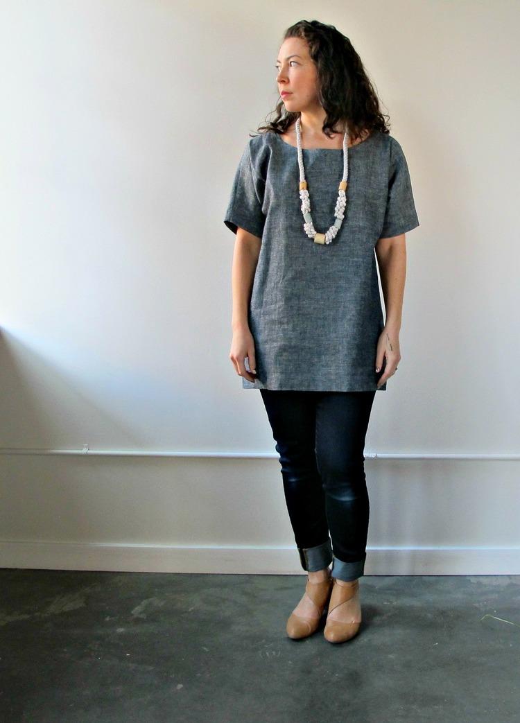 Blank Canvas Tunic in Hemp/Organic Cotton lightweight Denim