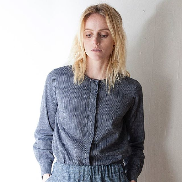 The Kurta is back for fall and available in organic navy, grey, and denim. . . . #fw17 #organic #kurta #sustainablefashion #slowfashion #buttonup #womansfashion #madeinseattle #ethicallymade