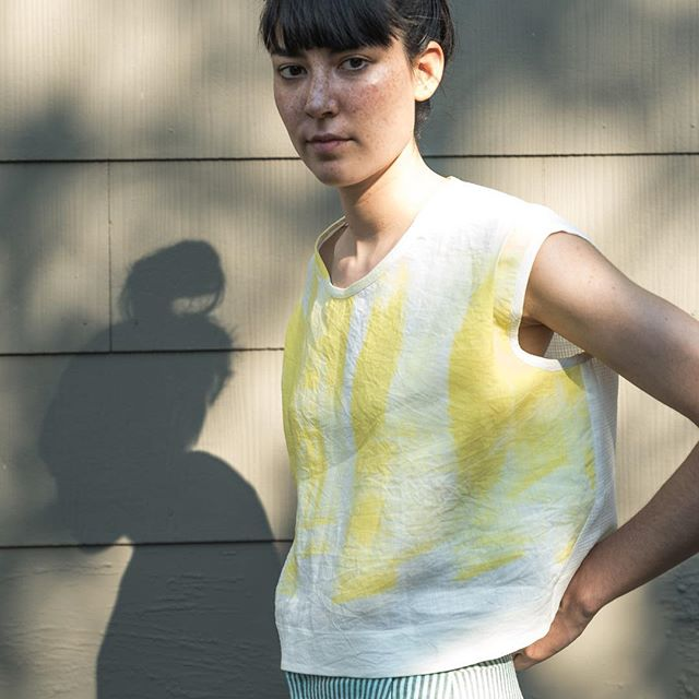Honoring the sun and shadows for Solstice. 🌞🌑 . Rhombus Top in organic cotton and linen available now. . #organic #sustainablefashion #smallbatch #sun #shadows #madeinseattle #summerwear #solstice #handpainted #slowclothing