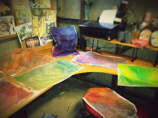 Tissue paper draped all over my studio!