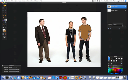 I'm editing a frame from the Get a Mac ad called 'Genius'. I used the Magic Wand to select Justin's shirt, then I used the Paint Bucket to recolor it.