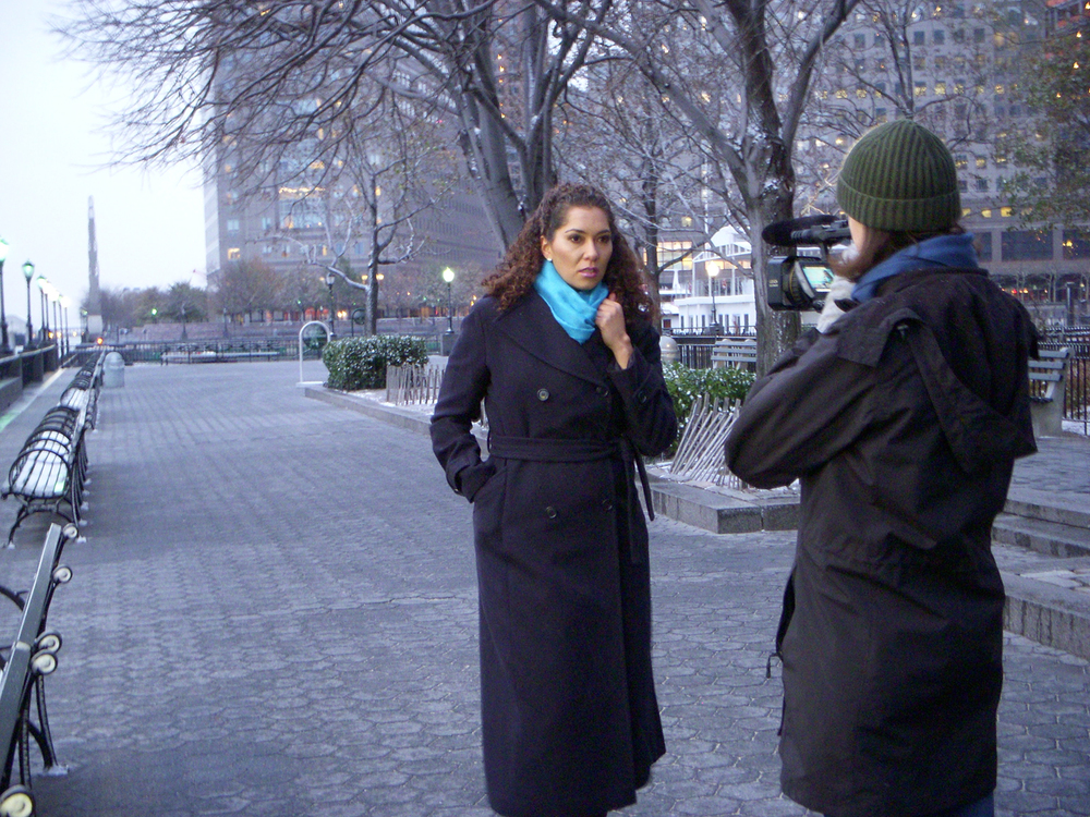 Shooting in Battery Park along the Hudson River in NYC!  Anneliese Paull captures a moment with Christa Pryor.