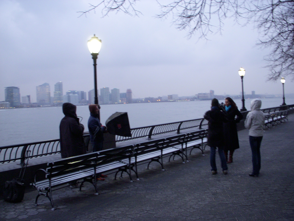 The Max Curious Pro crew shooting along the Hudson river with Jersey City in the background.