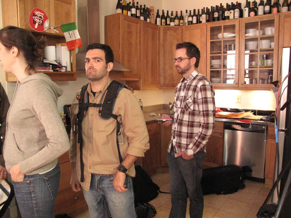 "In Morgan's kitchen on the Smart Car shoot.  Rick Lombardo seems skeptical.  ""What you talkin' bout Willis?"