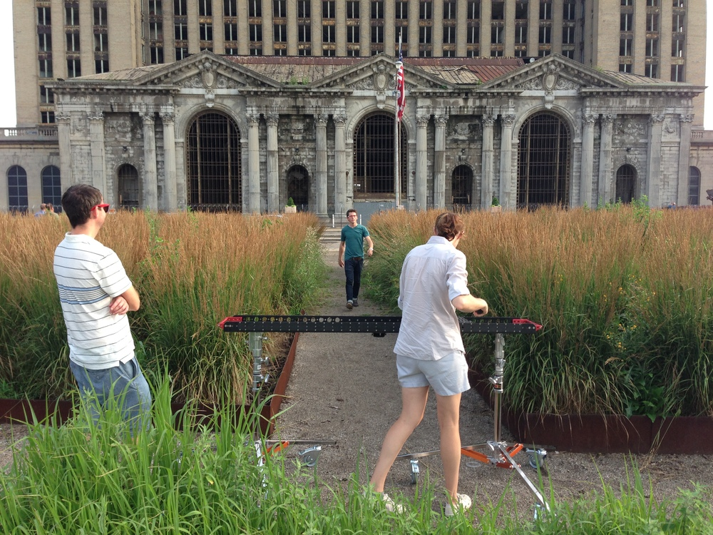 Max Curious crew setting up for slider shot at Detroit's historic relic Michigan Central Station.