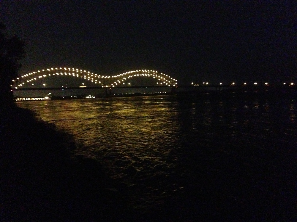 Mississippi River at night.