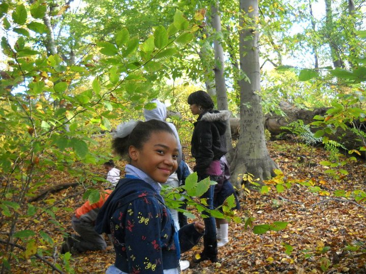 Children playing on Fairmount Park Trail