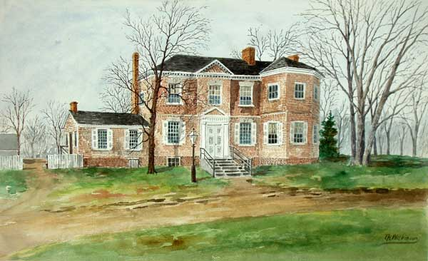 Watercolor rendering of Laurel Hill, T.K. Mitchum