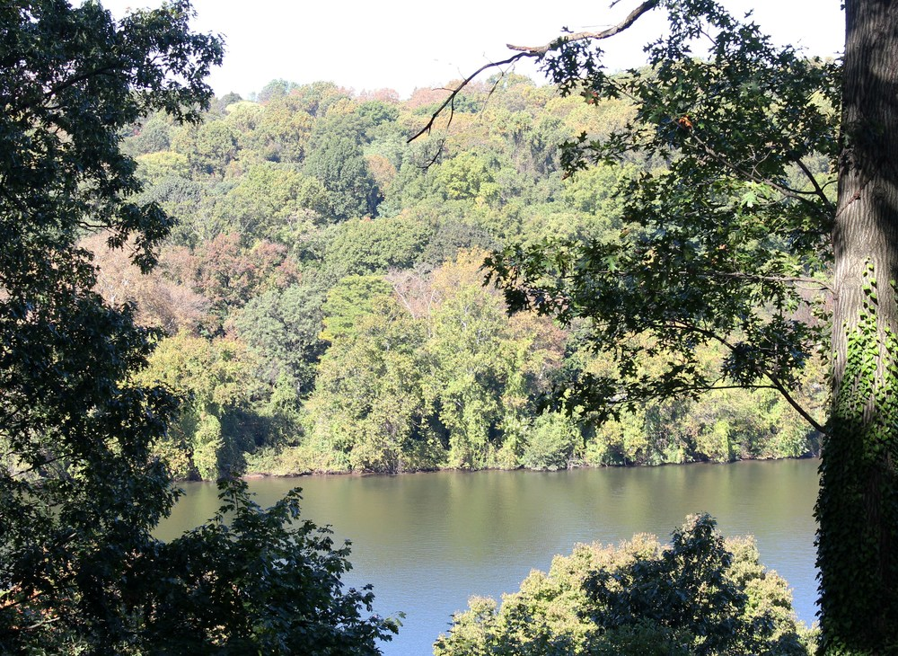View of the Schuylkill River from Laurel Hill porch.  Photo by Samantha Madera, 2012.