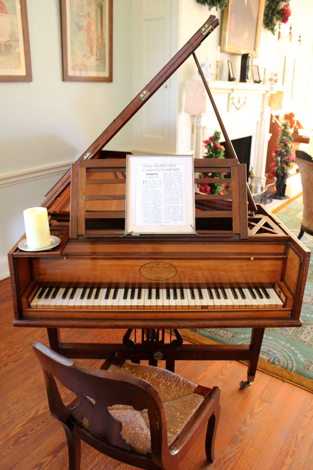 1808 pianoforte.  Music was part of life at Laurel Hill; and continues today through the annual Concerts by Candlelight series.  Photo by Samantha Madera, 2012.