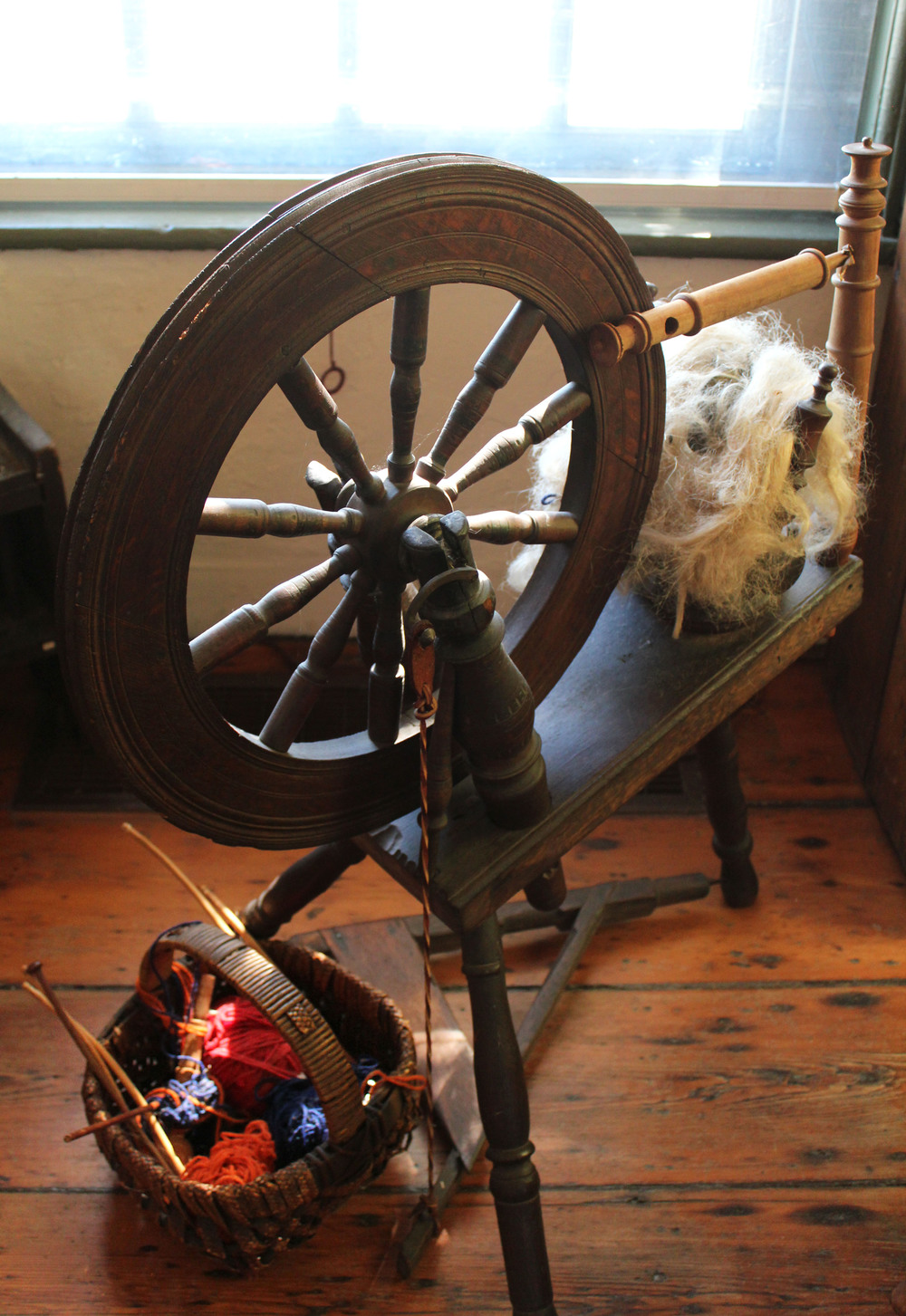 Spinning wheel, Laurel Hill kitchen.  Photo by Samantha Madera, 2012.