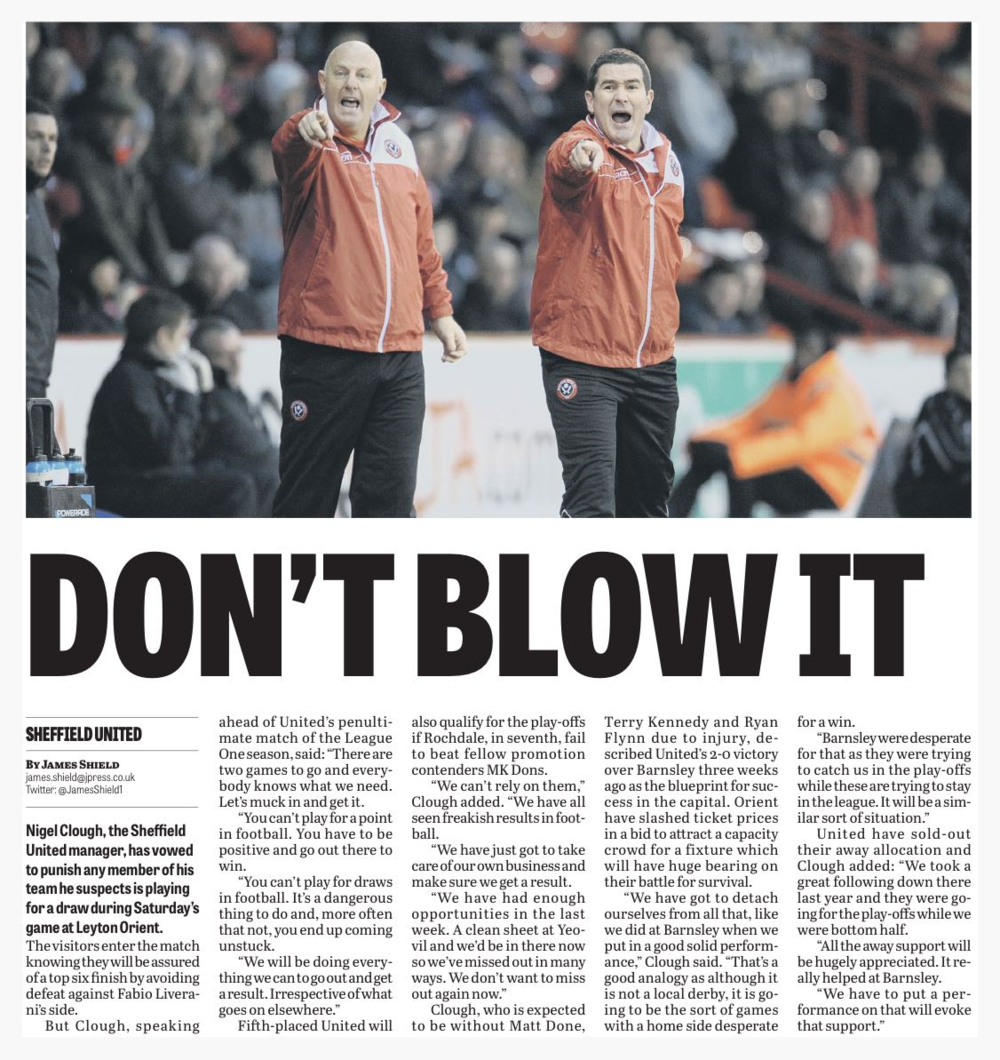 "PANIC ATTACK:  BACK PAGE OF THE STAR CLAIMS NIGEL CLOUGH IS THREATENING TO ""PUNISH"" HIS PLAYERS."
