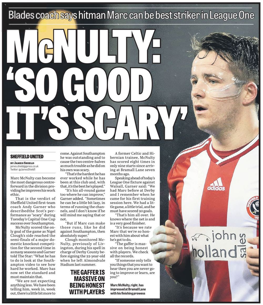 HOLLOW PRAISE:  First team coach Andy Garner's glowing opinion of Marc McNulty just before Christmas. to date since then the striker has been given just five League starts. He's been used as a substitute 10 times and scored three LEAGUE goals.