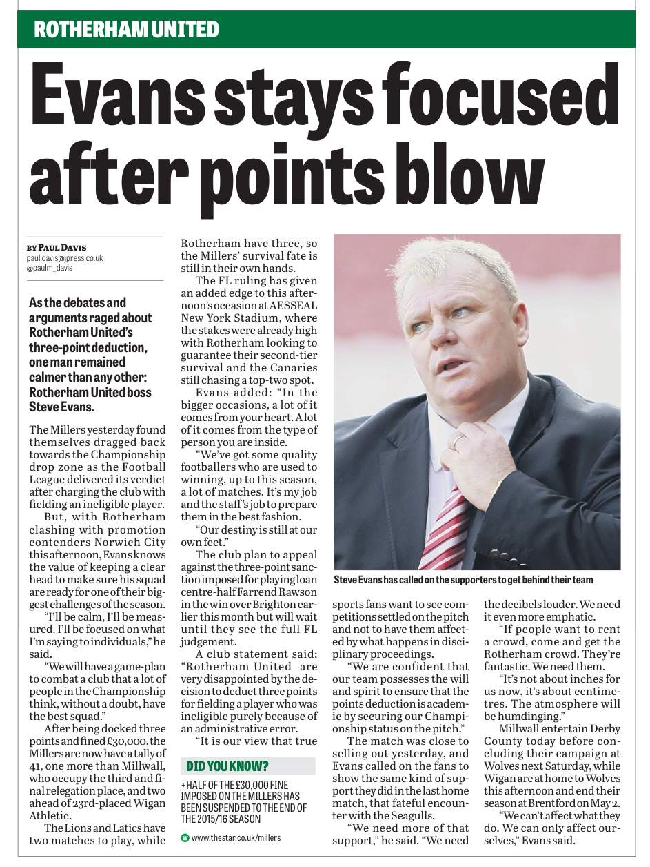COOL CUSTOMER:  THE STAR REPORTS MILLERS BOSS STEVE EVANS REACTION TO THE NEWS OF A THREE-POINT DEDUCTION