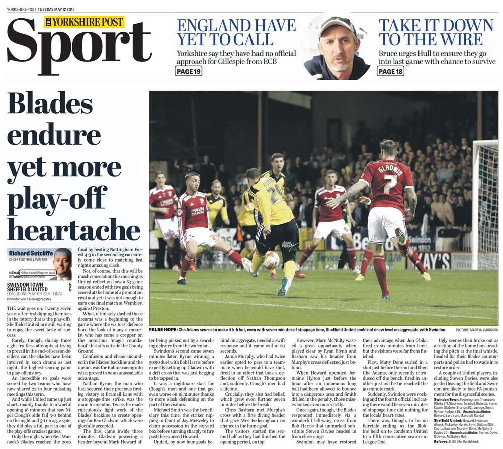 FAMILIAR HEADLINE: THE YORKSHIRE POST'S BACK PAGE TELLS THE TALE