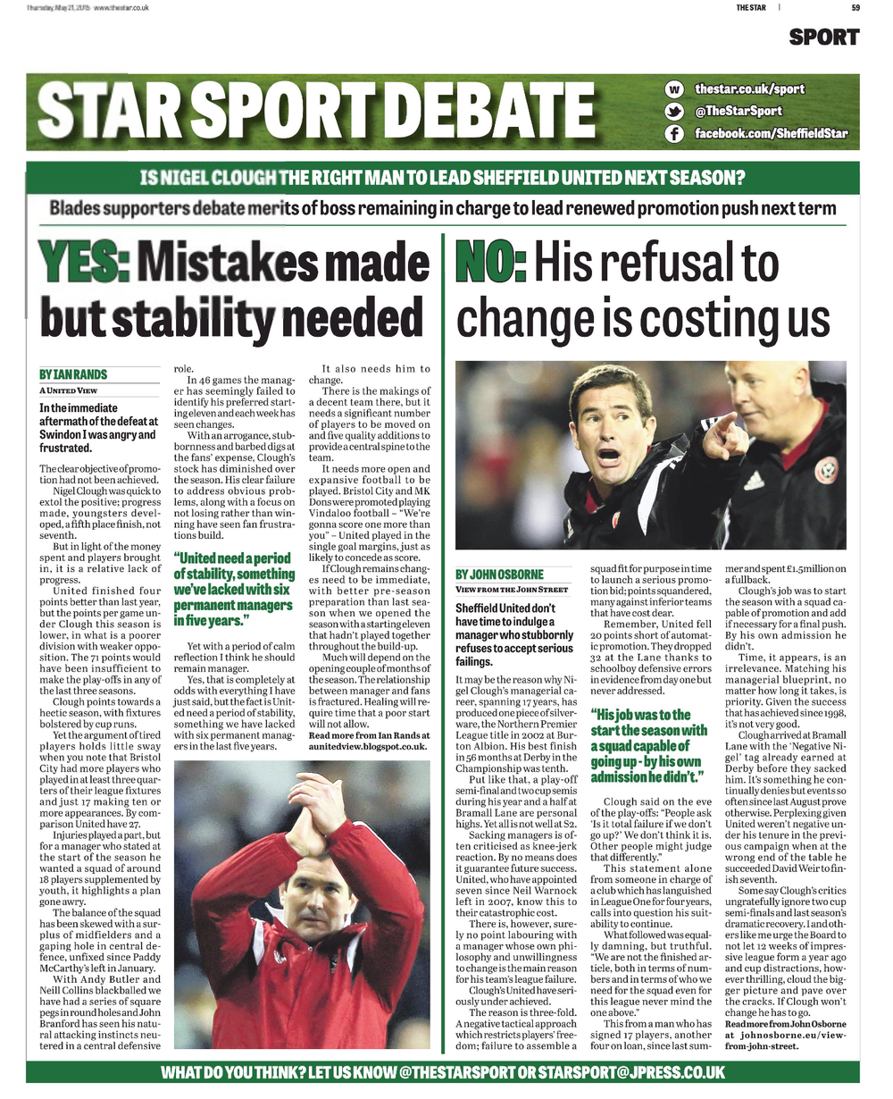 OPPOSING VIEWS:  TODAY'S STAR SPORTS DEBATE REFLECTS THE DIVIDE BETWEEN SHEFFIELD UNITED FANS AND reflects THEIR CONCERNS