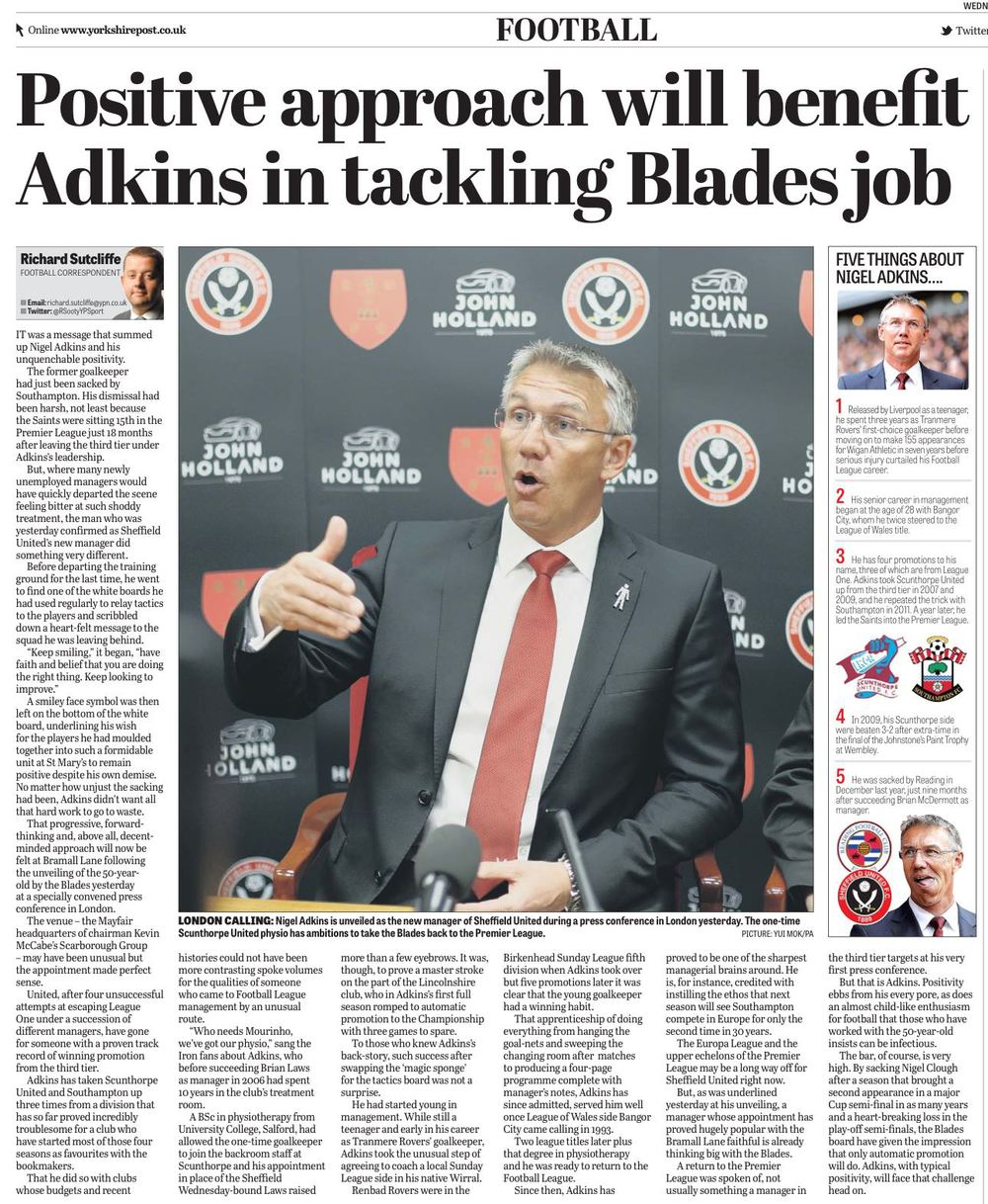 THUMBS UP:  ADKINS' REFRESHINGLY POSITIVE APPROACH REPORTED IN TODAY'S YORKSHIRE POST