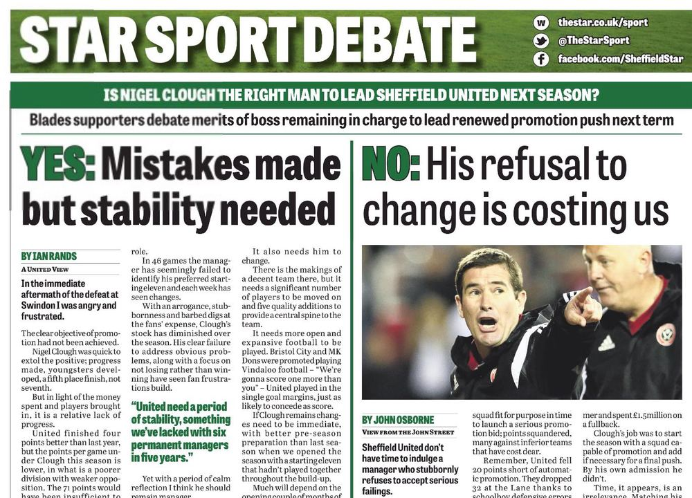 STAR SPORTS DEBATE:  united blogger IAN RANDS IS IN NIGEL CLOUGH CAMP FOUR DAYS BEFORE the manager's DISMISSAL FROM BRAMALL LANE.