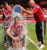 ICE MAN:  Morgs undergoes the Ice Bucket Challenge for charity
