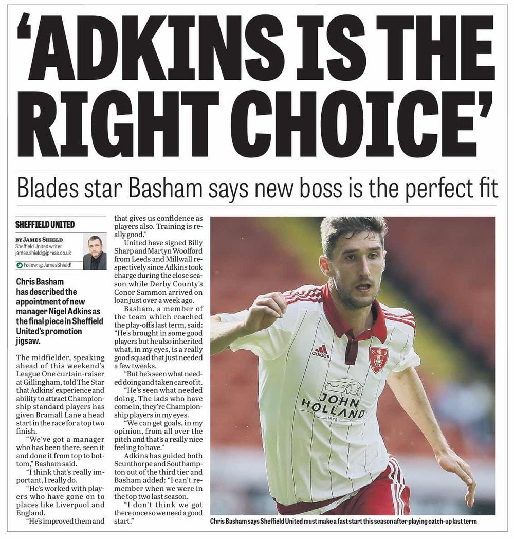 AUGUST 5:  Basham is adamant that Nigel Adkins is man to return United to the Championship