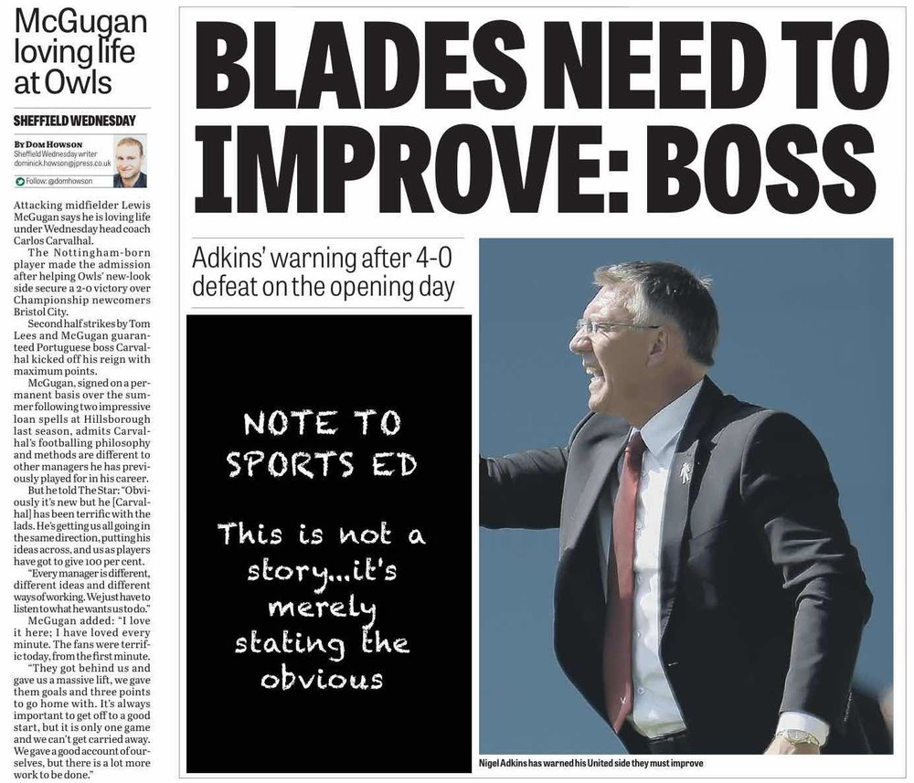 IS THIS NEWS?  The Star's back page lead on Monday morning tells readers absolutely nothing