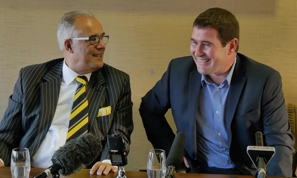 ALL SMILES:  NIGEL CLOUGH WITH BURTON CHAIRMAN BEN ROBINSON