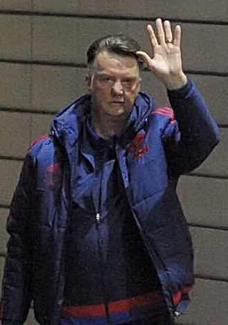 TAXI?  Manchester United manager Louis van Gaal in Salford last night.