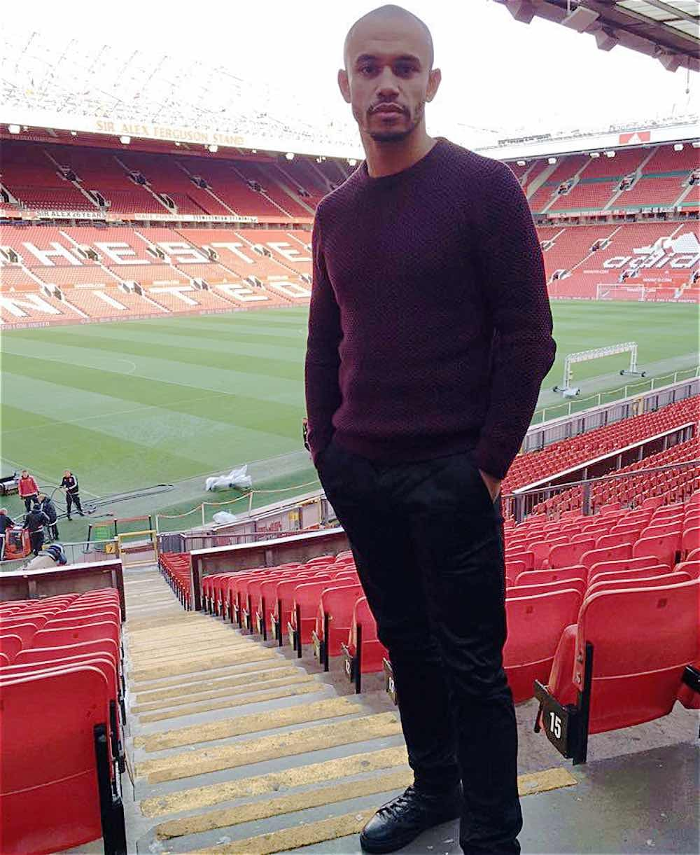 STRIKING POSE:  DANNY WEBBER NOW OF SALFORD CITY, WHO SCORED THE BLADES WINNER AT CARDIFF CITY IN 2006 WHICH CLINCHED PROMOTION TO THE PREMIER LEAGUE. PICTURED AT OLD TRAFFORD WHERE HE IS A FAN AND SEASON TICKET HOLDER.