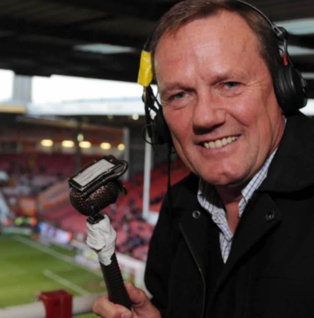 OUTSPOKEN:  EX-UNITED KEITH EDWARDS WITH THE RADIO MIKE FOR BBC RADIO SHEFFIELD AT BRAMALL LANE