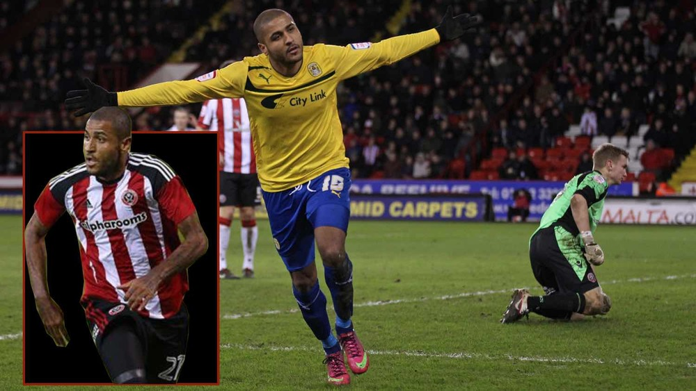 HAPPY HUNTING GROUND: SHEFFIELD  UNITED'S LATEST SIGNING LEON CLARKE SCORES his second and COVENTRY CITY's winner in a 2-1 triumph AT BRAMALL LANE back in 2013. INSET, HIS DEBUT WEARING A UNITED SHIRT IN THE FRIENDLY AGAINST DERBY.