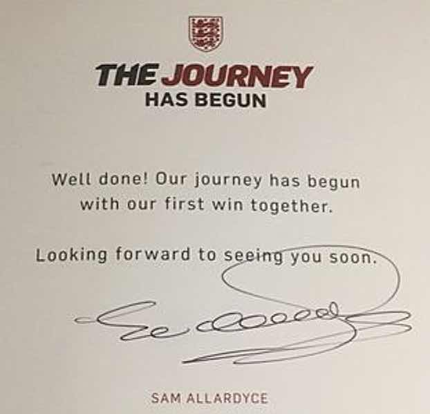 POSTCARD FROM THE EDGE:  MESSAGE ALLARDYCE SENT TO ALL HIS ENGLAND PLAYERS HOURS BEFORE LEAVING THE JOB ON TUESDAY.