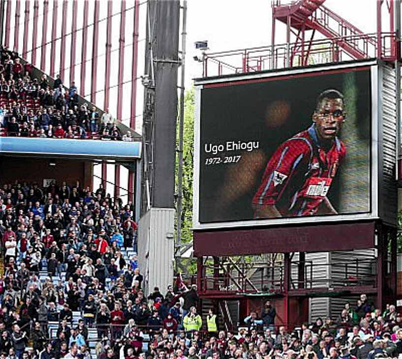 UNITED FRONT:  ASTON VILLA AND BIRMINGHAM CITY FANS STOOD IN SILENCE AT VILLA PARK BEFORE DERBY MATCH