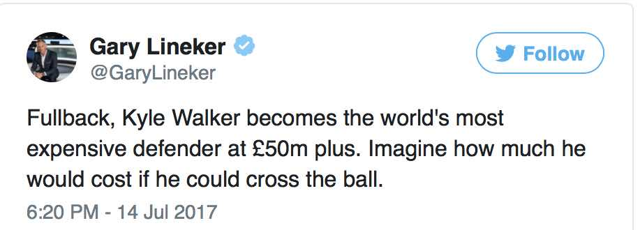 JEALOUS GARY?  LINEKER'S TAKE ON WALKER'S MOVE TO CITY