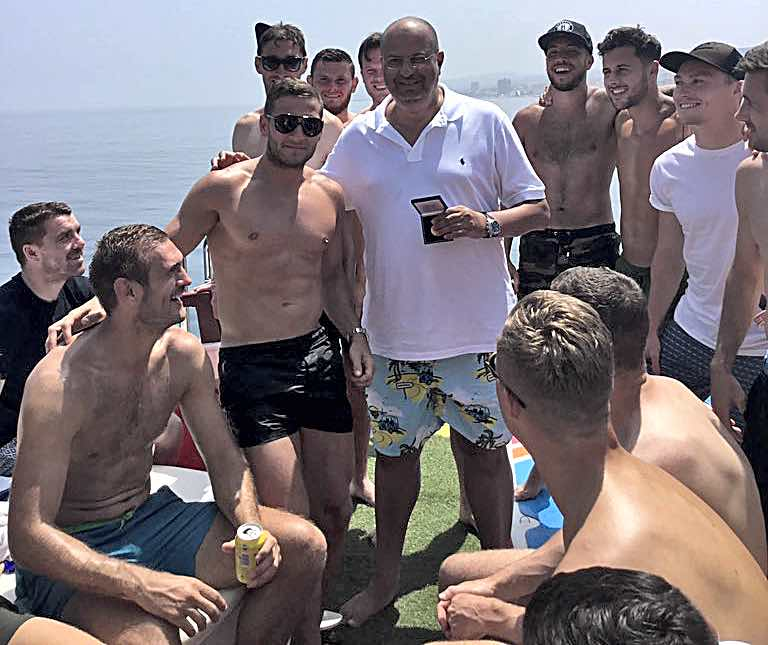 One of the boys - United co-owner Prince Abdullah bin Mosaad bin Abdulaziz Al Saud with King Billy Sharp and teammates during the pre-season trip to Spain.