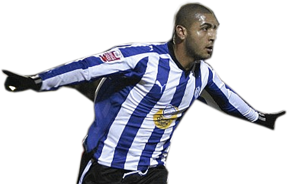 LOOK FAMILIAR? - Leon Clarke, gloves and all, in his trademark celebration pose but in a Sheffield Wednesday shirt.