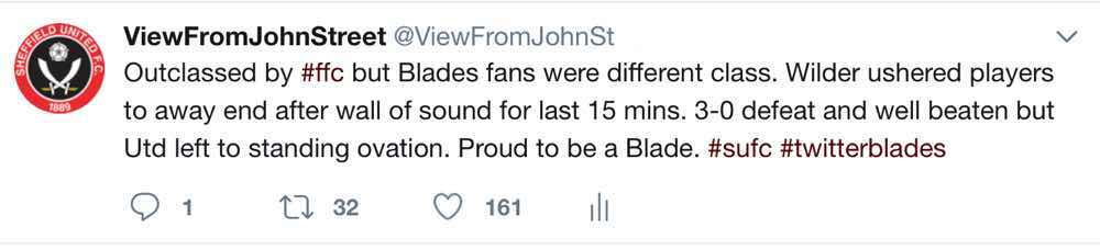Tweet from ViewFromJohnStreet after Sheffield United's 3-0 Championship defeat