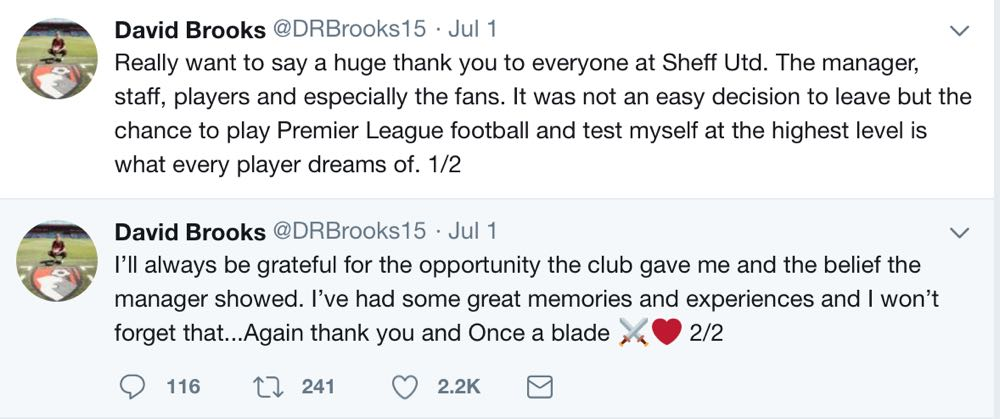 GRATEFUL:  Brooks tweets his farewell.