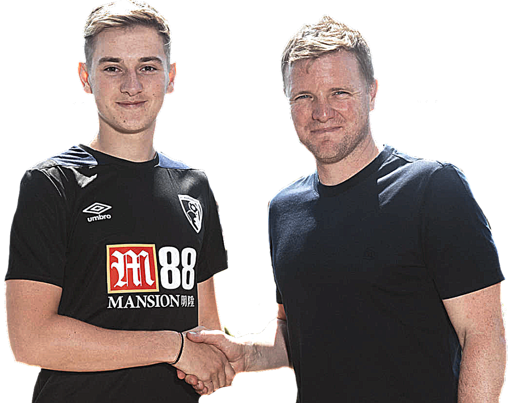HOWE'S THAT:  Brooks with his new boss AT BOURNEMOUTH.