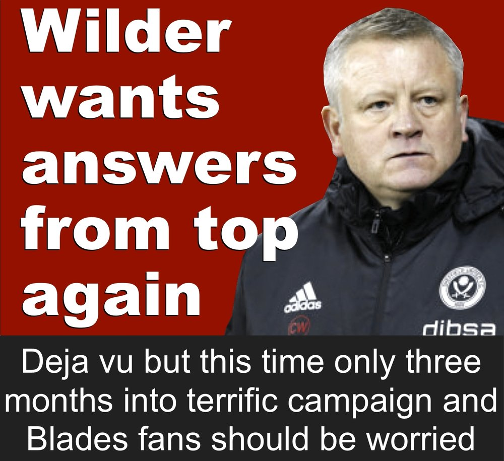 Only three months into the Blades Championship campaign and Sheffield United boss Chris Wilder is making the same noises he made last season which ended in him threatening to quit Bramall Lane.