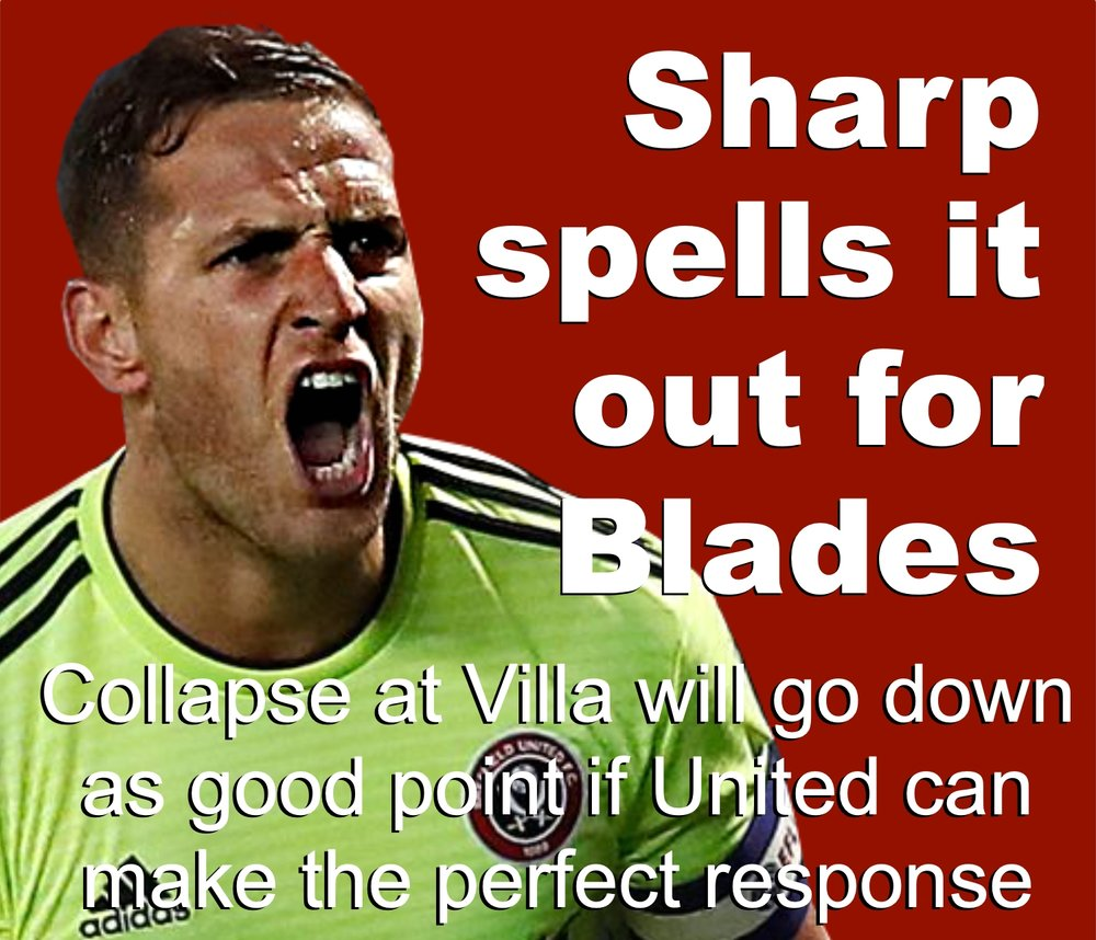 Sheffield United centurion Billy Sharp sounds rally call to Blades teammates after shocking collapse at Villa Park