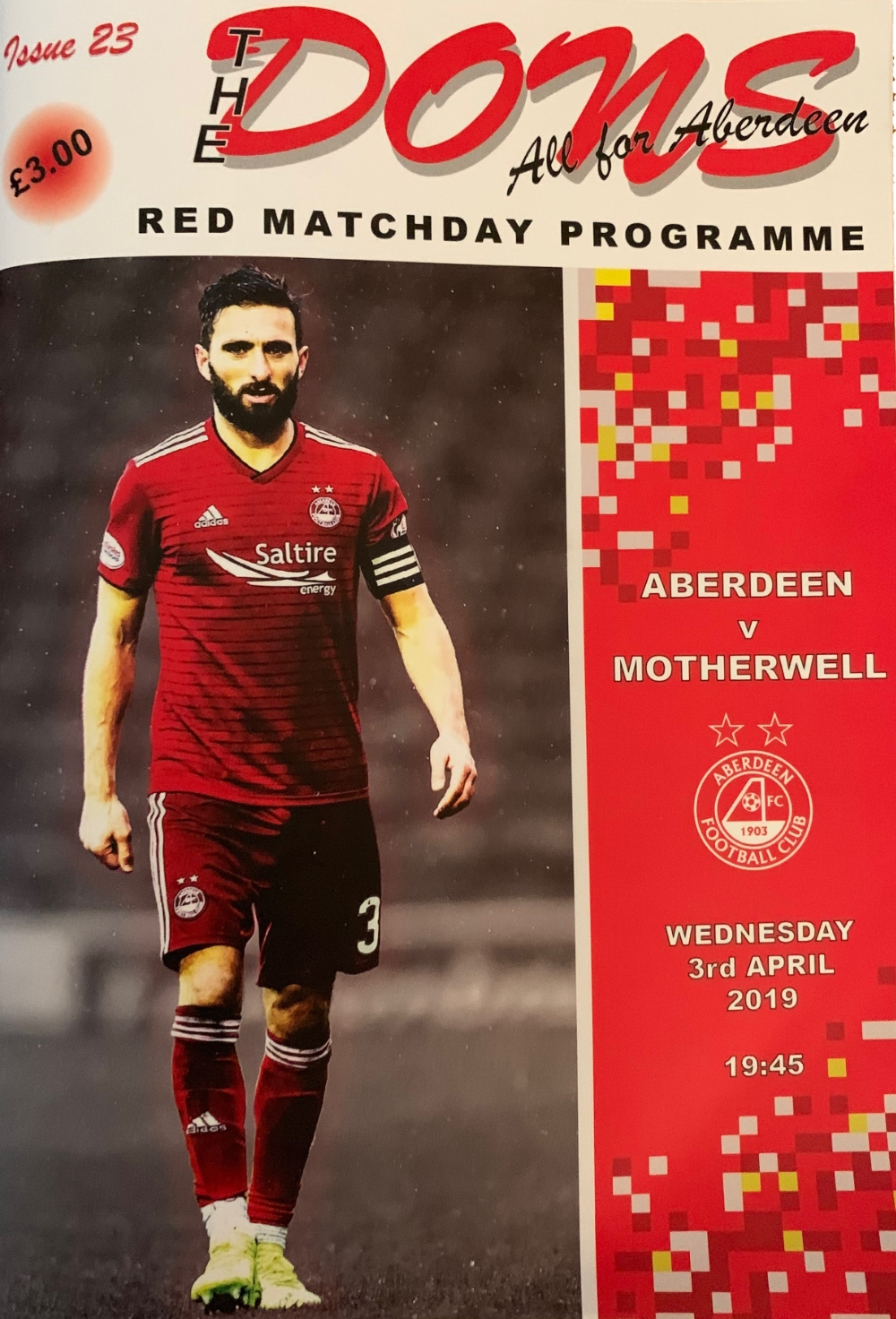 Shinnie on front of midweek programme