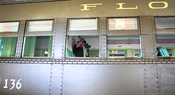 "Photographing ""Sentimental Journey"" (FEC Coach No 136), October 2013, Photograph by Marie LaFauci, 2013 All Rights Reserved (Used by Permission)"