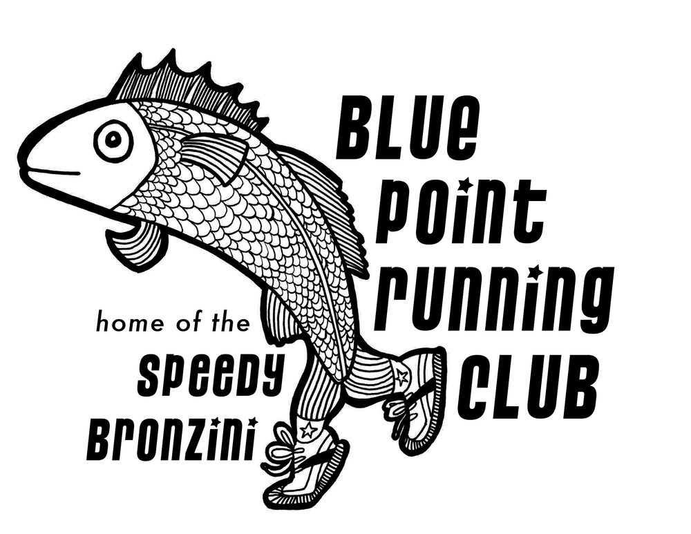 Tee shirt and logo illustration and design for Blue Point Running Club
