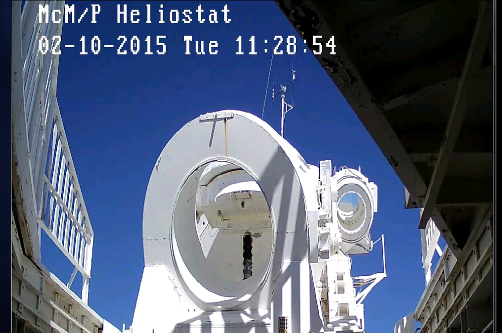 A screenshot of the webcam view during tests with the east auxiliary telescope (to the right of the main telescope).